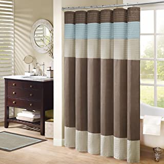 Madison Park Amherst Bathroom Shower Faux Silk Pieced Modern Microfiber Fabric Bath Curtains, 72X72 Inches, Blue