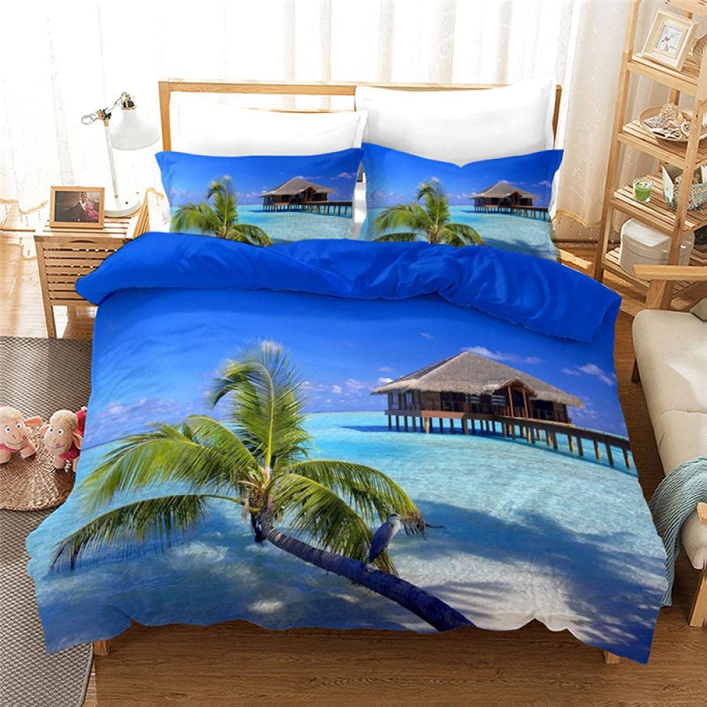 Coconut Tree Outstanding Ocean Beach New sales 3D Printed Covers Cover Pillow 3 Duvet