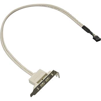 変換名人 PCI/ロープロファイルPCIブラケット用 USB2.0(x2ポート)延長ケーブルセット PCIB-USB2/2FL
