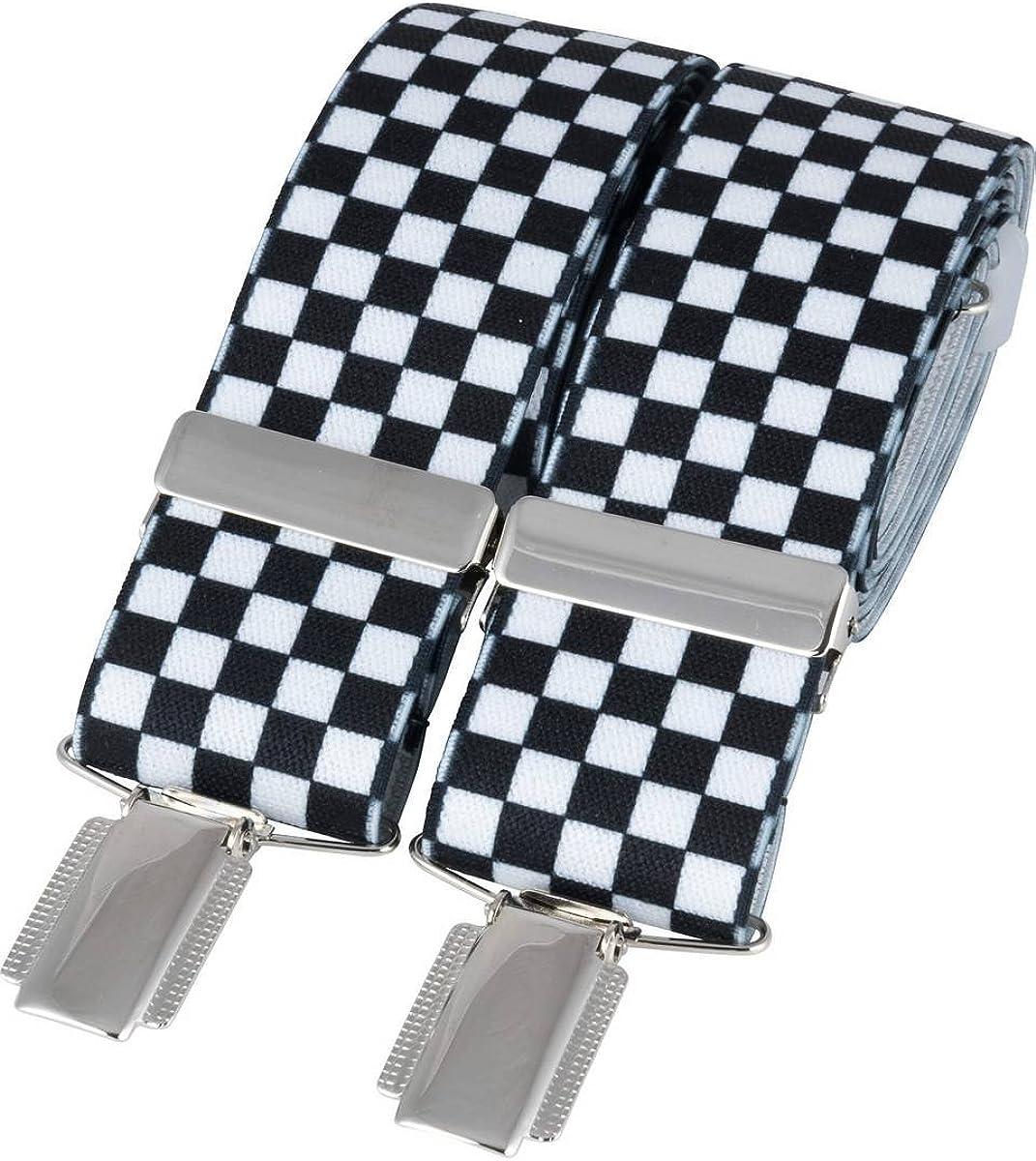 David Van Hagen Mens Check Braces - Black/White