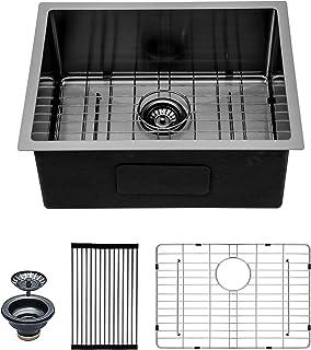 "Sponsored Ad - 23 Inch Undermount Kitchen Sink - Mocoloo 23""x18"" Gunmetal Black 16 Gauge Stainless Steel 10 inch Deep Sing..."