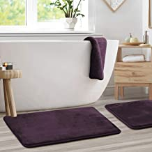 "Clara Clark Memory Foam Bathrug 2 Pack Set - Eggplant - Bath Mat and Shower Rug Large 20"" x 32"" Inches, Non Slip Latex Fre..."