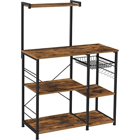 VASAGLE Baker's Rack with Shelves, Microwave Stand with Wire Basket, 6 S-Hooks, Kitchen Shelf, Utility Storage for Spices, Pots, and Pans, Rustic Brown KKS35X