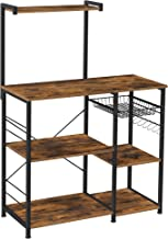 VASAGLE półka kuchenna, półka stojąca z metalowym koszem, półka na pieczywo z 6 haczykami S i półkami, półka na kuchenkę m...