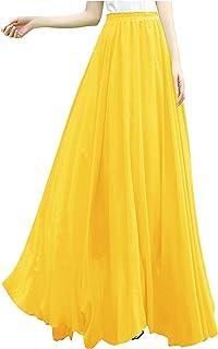 03962a10f48 v28 Women Full Ankle Length Elastic Pleated Retro Maxi Chiffon Long Skirt