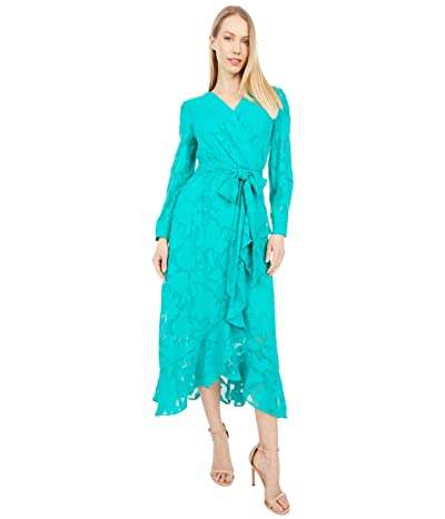 Tahari by ASL Chiffon Textured Burnout Long Sleeve Dress with Side Tie (Dynasty Green) Women