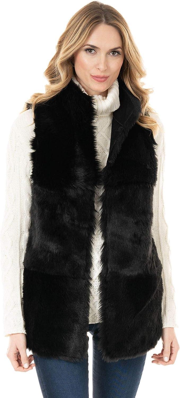 Donna Salyers' Fabulous-Furs Black Faux Suede & Faux Shearling Chalet Vest