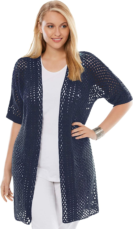 Jessica London Women's Plus Size Crochet Long Cardigan Sweater