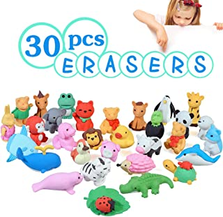 Acekid Animal Erasers for Kids, 30pcs Japanese Pencil Erasers Set, Cute Mini Puzzle Eraser Toys for Novelty Party and School Supplies