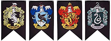 """AUS + MOON Harry Potter 30""""x50"""" Black Set - Hogwarts House Extra Large Size Party Banners Flags Complete 4pc Set Collection - Gryffindor Slytherin Ravenclaw Hufflepuff (Potterhead Gifts)"""