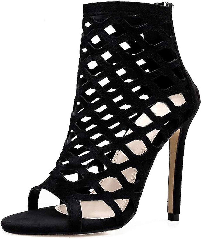 Women Stiletto Heels Sandals Peep Toe Hollow Pumps Evening Dress Casual Party shoes,Black,8