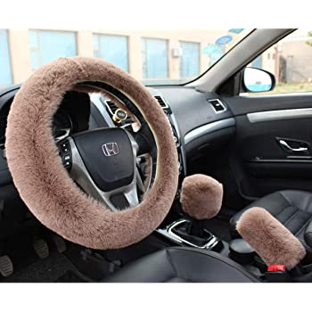 Valleycomfy Winter Warm Faux Wool Steering Wheel Cover with Handbrake Cover Gear Shift Cover Set Universal 15 Inch 1 Set 3 Pcs, Cameo Brown