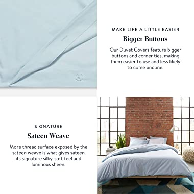 Brooklinen Luxe Duvet Cover for King/California King Size Bed, Solid White (Extra-Long Corner Ties and Button Closure)