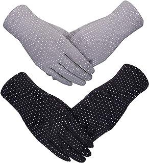 2 Pairs Women Sun Protective Gloves Summer UV Protection Gloves Sunblock Cotton Gloves Touchscreen Gloves Non-Slip Gloves ...