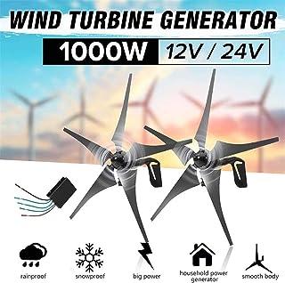 Turbina eólica 1000W Inicio de viento generador de turbinas, 12V 24V 5 de fibra de nylon Hoja Horizontal Inicio turbinas de viento Molino generador de energía Energía Turbinas de carga for el hogar al