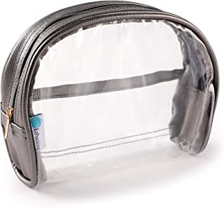 Half Moon Bag | Small Clear Cosmetic Pouch for Purse | TSA Compliant Clear Quart Bag for Travel | Perfect See-Through Clutch or Handbag for Makeup | Made From Vegan Leather, Vinyl PVC & Suede (Gray)