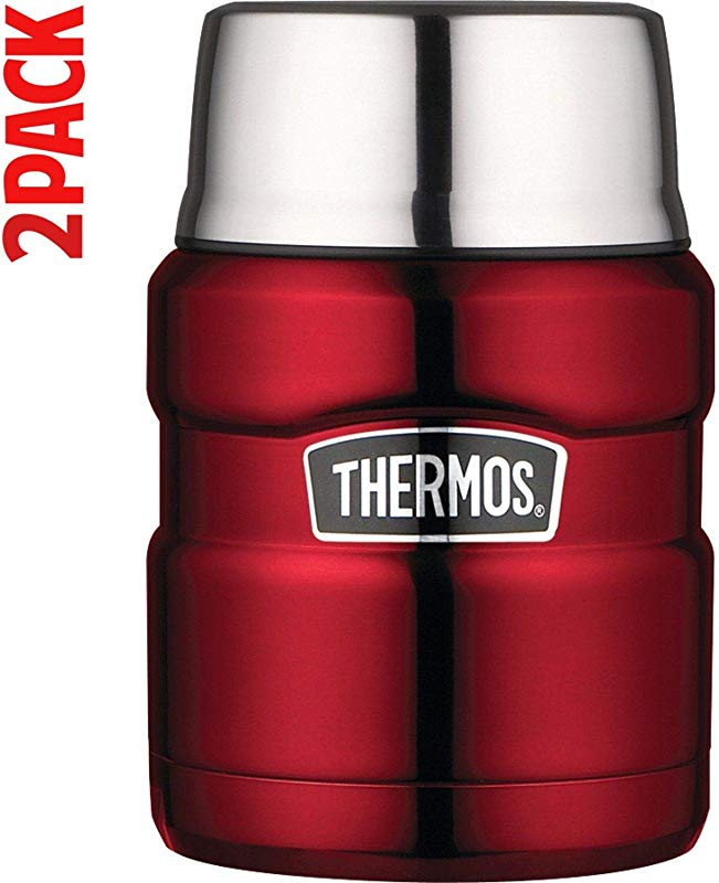 Thermos Stainless King 16 Ounce Food Jar With Folding Spoon Cranberry Pack Of 2
