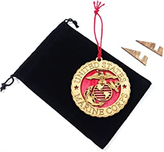Hanging Laser Wooden Christmas Tree Holiday Ornament with Display Stand & Velvet Pouch - Military Armed Forces Marine Corps