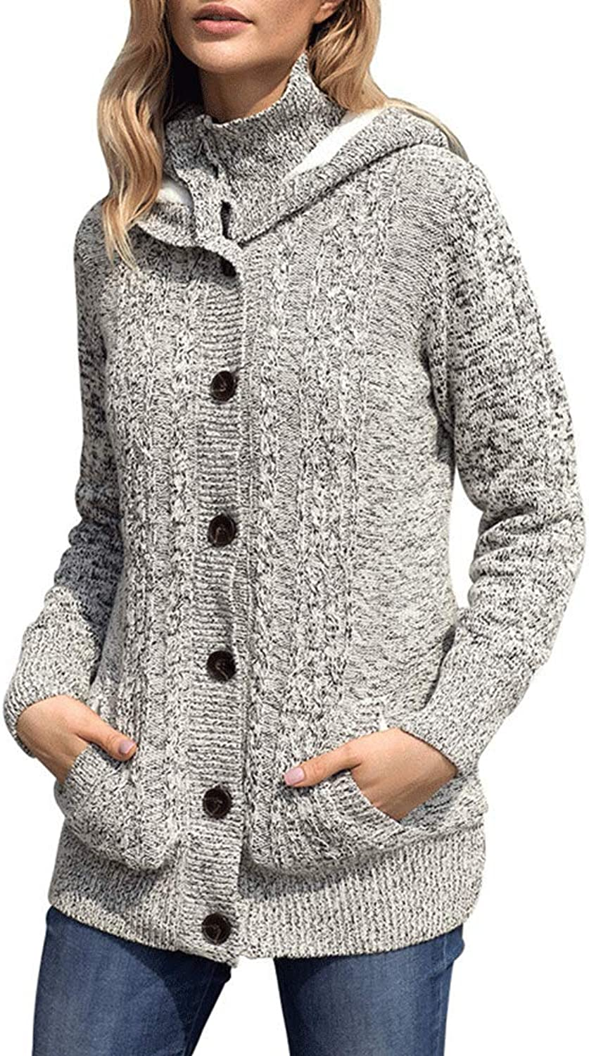 EVEDESIGN Women's Hooded Cable Knit Cardigan Fashion Button Down Fleece Lined Sweater Coat