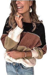 Coolred المرأة البلوزات الصلبة المرقعة البلوز متماسكة جولة الرقبة القمصان