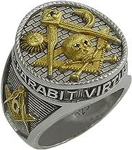 UNIQABLE Masonic Freemasonry Signet Memento Mori Skull and Bone Sterling Silver 925 Men Ring Custom Made KTR 015