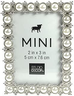 Studio Decor Silver Tone Imitation Pearl Metal Mini Picture Frame, 2 X 3 (Standard Version)