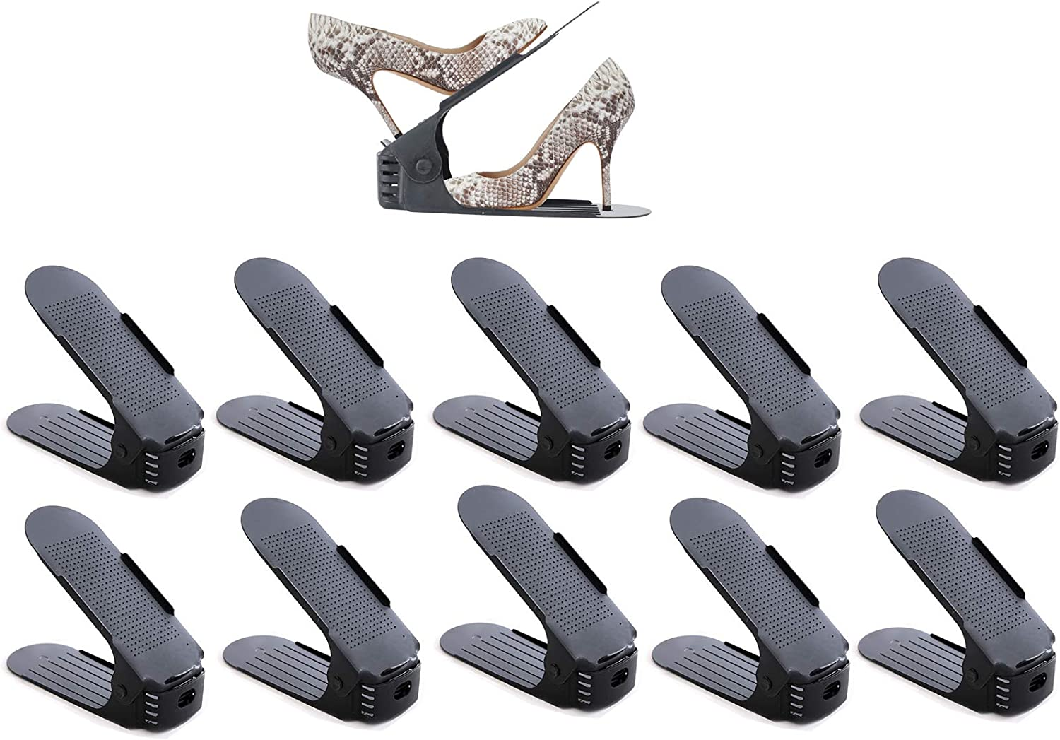 KQGO Shoe Slots Organizer for Closet,Adjustable Shoe Stacker Space Saver,Double Layer Shoe Rack Organizer Holder,Easy Shoes Storage,Pack of 10,Black