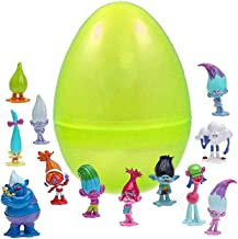 Coolinko 1 Toy Filled Jumbo Easter Egg with 12 Troll Figurines Inside - Assorted Characters from DreamWorks Trolls - Prefilled to Save You Time - Perfect Party Favor - Durable Easy Open 6 Inch Egg