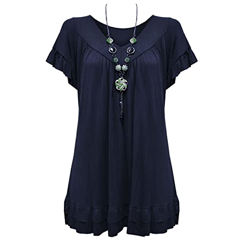 47d8db945fa91 Urban Diva Vanilla Inc Womens Ladies Plus Size Frill Necklace Gypsy Ladies  Tunic Short Sleeve Long