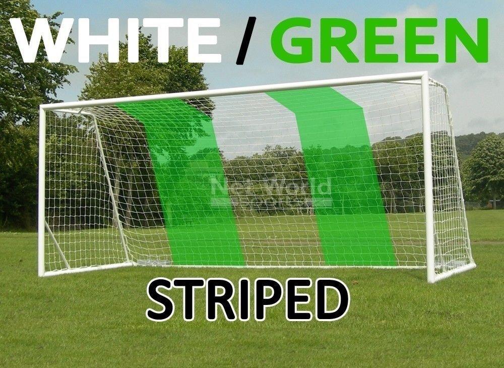 Striped Soccer Goal NET - White/Green - Official Full Size FIFA Spec - 24x8 / 24' x 8'