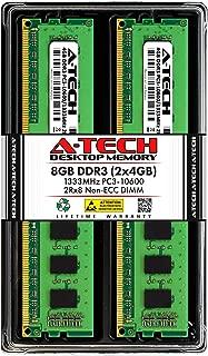 A-Tech 8GB DDR3 1333MHz Desktop Memory Kit (2 x 4GB) PC3-10600 Non-ECC Unbuffered DIMM 240-Pin 2Rx8 1.5V Dual Rank Computer RAM Upgrade Sticks