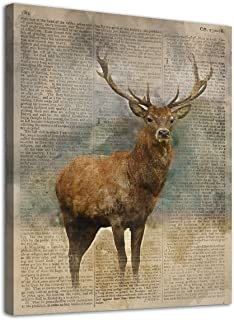 arteWOODS Deer Canvas Wall Art Modern Vintage Animal Pictures Deer with Big Antlers Canvas Artwork Contemporary Wall Art for Home Decor Bedroom Living Room Decoration Framed Ready to Hang 12