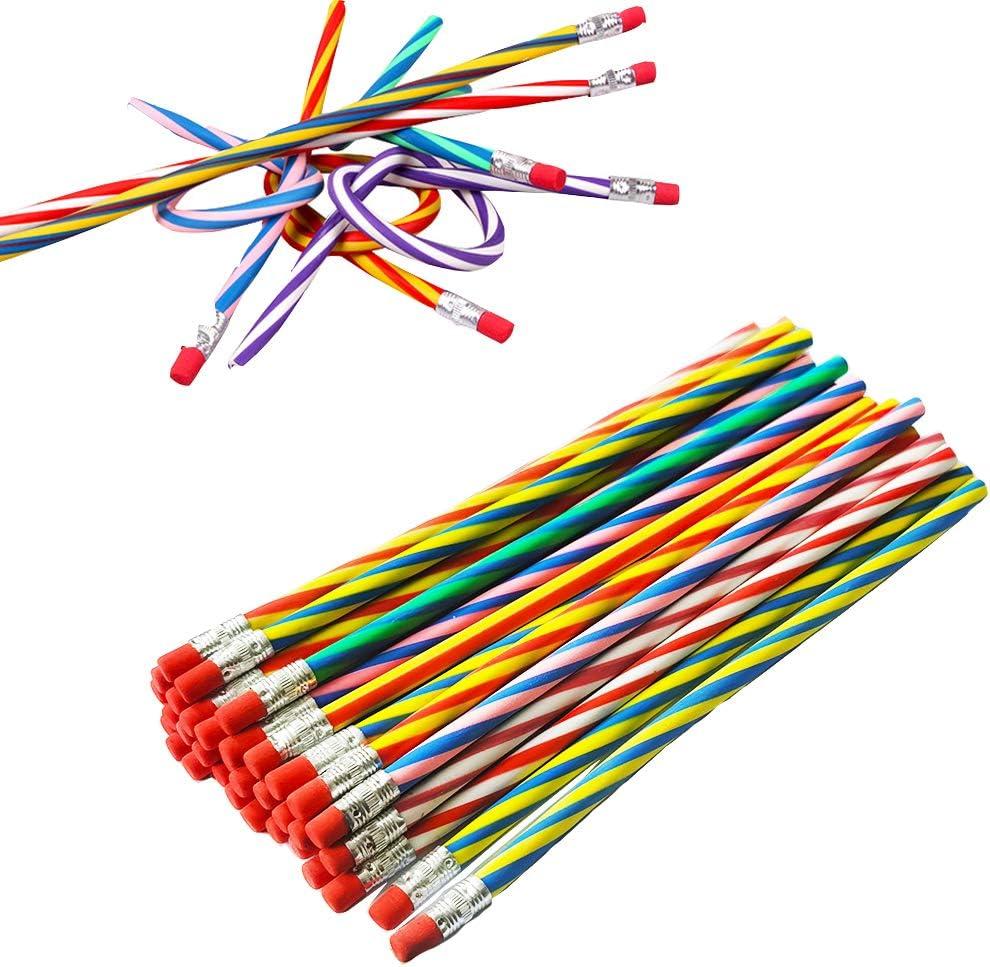 35 PCS Colorful Flexible Soft Striped Pencil Bendy Sale Special Price Rare Magic