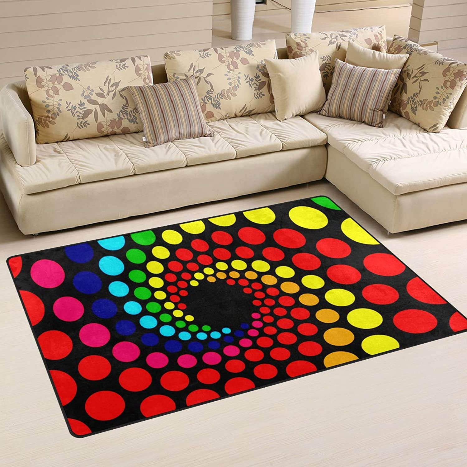 Area Rugs Doormats Art Rainbow Dot Spiral 5'x3'3 (60x39 Inches) Non-Slip Floor Mat Soft Carpet for Living Dining Bedroom Home