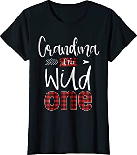 Womens Grandma of the Wild One Shirt Plaid Lumberjack 1st Birthday