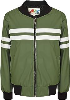 Kids Boys Girls Jacket Contrast Stripe Olive PU Bomber Varsity School Biker Coat
