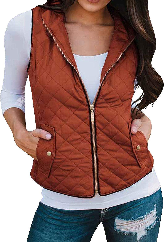 Ezcosplay Women Sleeveless Stand Collar Zip Lightweight Casual Jacket Vest Coat