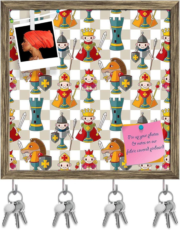 Artzfolio Cartoon Chess Key Holder Hooks   Notice Pin Board   Antique golden Frame 20 X 20Inch