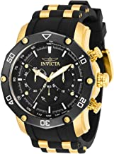 Invicta Men's Pro Diver Stainless Steel Quartz Watch with Silicone Strap, Black, 26