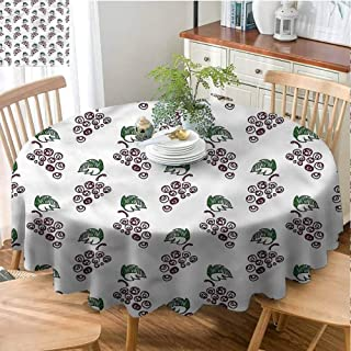 ScottDecor Dinning Round Tablecloth Vineyard,Sketchy Style Wine Motifs Fabric Tablecloth Diameter 60