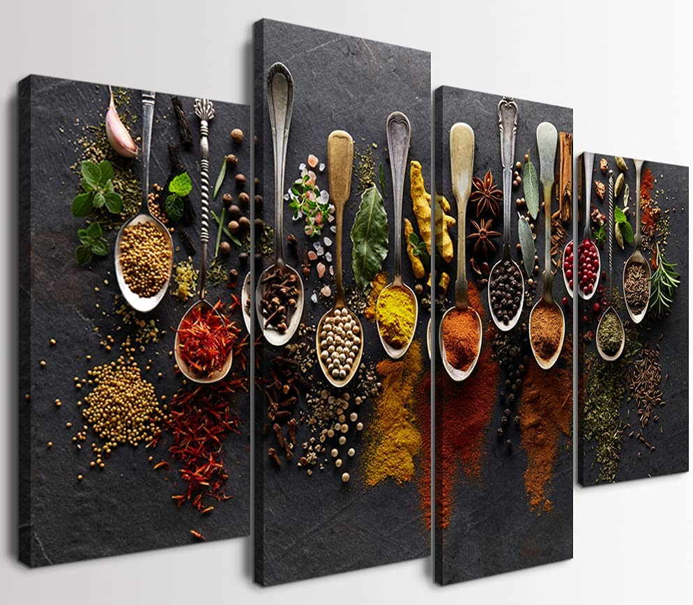 4 low-pricing Piece Kitchen Picture Limited price for Wall Colorful Spices Canvas Spoon in
