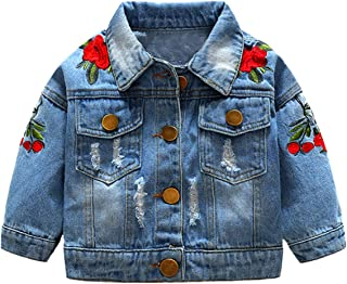 YOUNGER STAR Kids Toddler Baby Girls Denim Jacket Flower Embroidery Long Sleeve Ripped Jean Coat Outwear Fall Winter Clothes