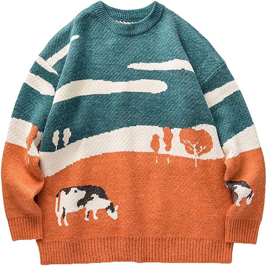 Men Cows Vintage Winter Sweaters Pullover O-Neck Korean Casual Harajuku Clothes