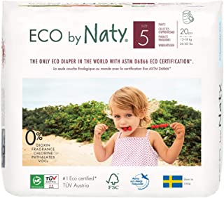 Eco by Naty Premium Pull On Pants for Sensitive Skin, Size 5, 4 Packs of 20 (80 Diaper Pants)
