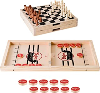 Yundu Fast Sling Puck Game,Wooden Hockey Table Game,Foosball Winner Board Game for Parent-Child,Folded into a Chess,2 in ...
