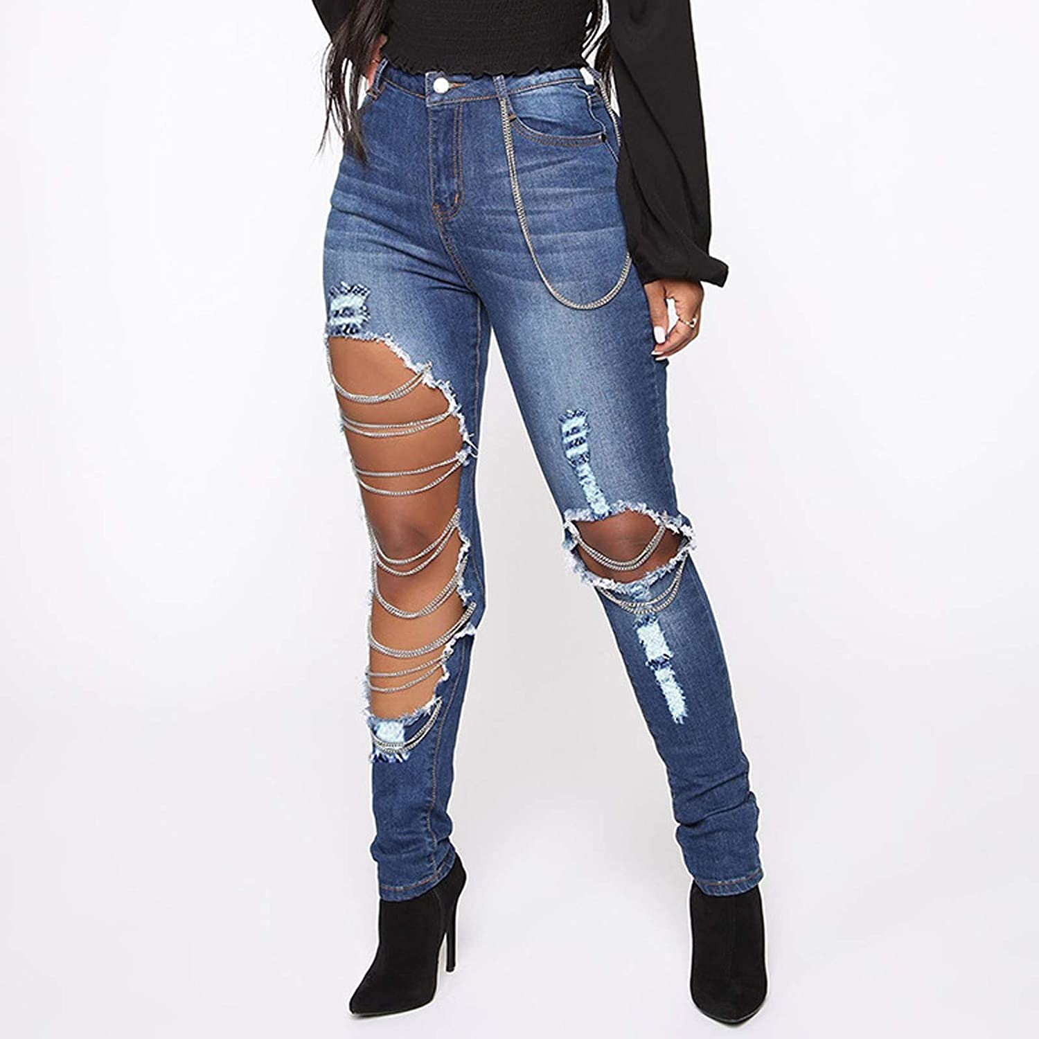 Euone_Clothes Pants for Women Casual, Women Slim Washed Ripped Hole Gradient Long Jeans Denim Sexy Regular Pants