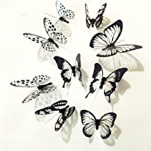 Vacally 36 Pcs Wall Stickers Wallpaper 3D Black White Butterfly Sticker Art Wall Decal Mural Home Decoration Living Room Bedroom Background