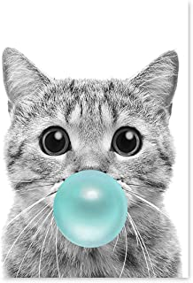 Awkward Styles Cat Chewing Blue Bubble Gum Poster Wall Art Lovely Cat Poster Photo Artwork Blue Gum Animal Gift Made in USA 8