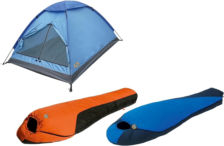 High Peak USA Alpinizmo 0F & Mt. Rainier 20F Sleeping Monodome 3 Tent Combo Set, blueee orange, One Size