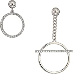 Mis-Matched Pave Ring Drop and Linear Ring Drop with Pave Bar Earrings